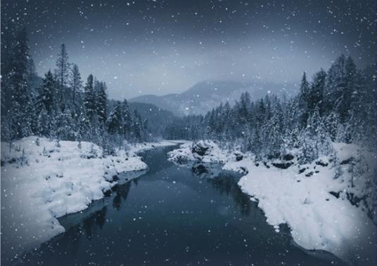 """Panel """"Schnee über dem Fluß"""""""