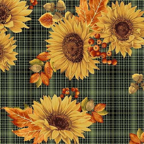 Sunflower Plaid green Autumn
