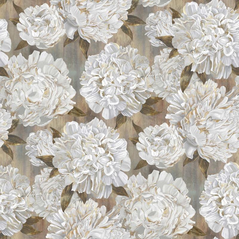 Ophelia - große weiße Blüten auf hellbraunem Grund