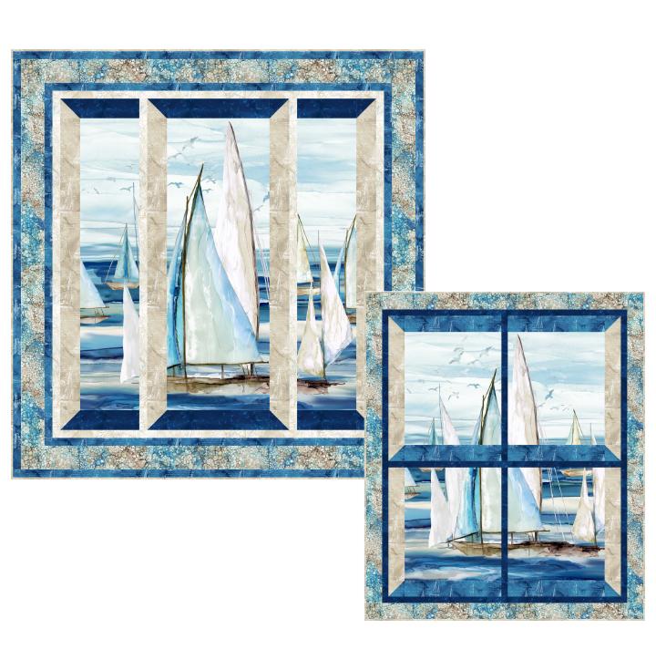 Sail Away - Seglermotive auf blau