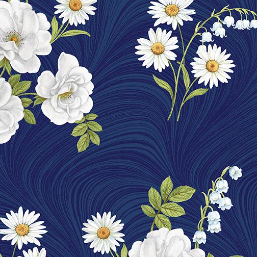 Blue & White Elegance - weiße Blumen auf blauen Wellen