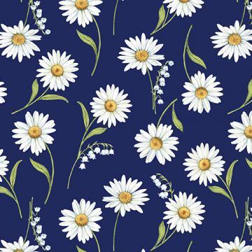 Blue & White Elegance - weiße Margareten und Maiglöckchen auf blau