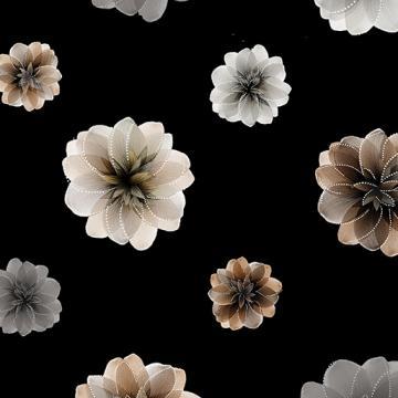 Blüten mit Perlmutt-Schimmer auf schwarzem Grund