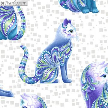 Cat-I-tude - blaue Katzen auf weiß