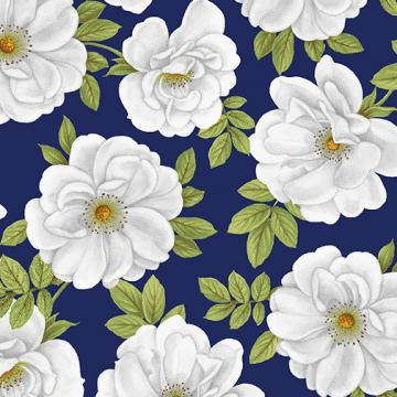 Blue & White Elegance - große Blüten