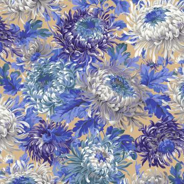 Chrysanthemen in Blau Lila Weiß auf Beige