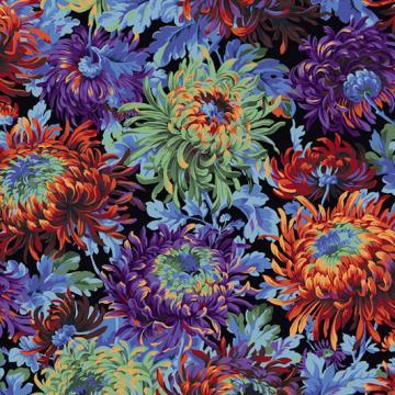 Chrysanthemen in blau lila braun auf schwarz von Philip Jacobs