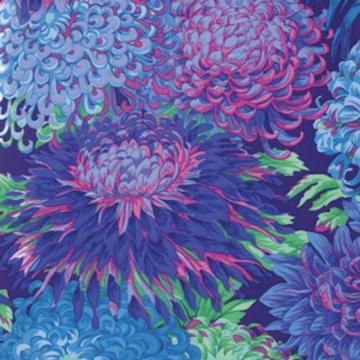 Chrysanthemen in hellblau hellgrün auf blau von Philip Jacobs