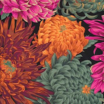 Chrysanthemen in orange grün pink auf schwarz von Philip Jacobs