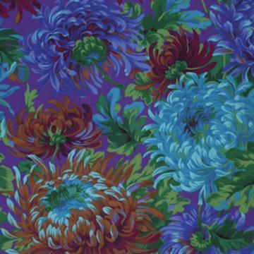 Chrysanthemen in türkis blau braun auf lila von Philip Jacobs