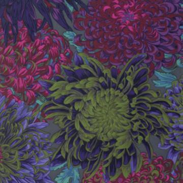 Chrysanthemen in weinrot grün auf grau von Philip Jacobs