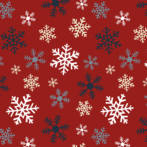 Jingle Bell Flannel - Schneeflocken auf rot