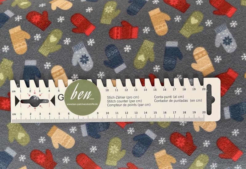 Jingle Bell Flannel - kleine Handschuhe auf graublau