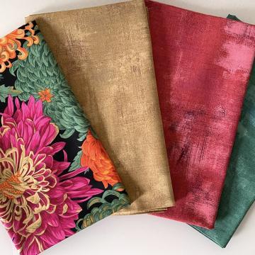 Kaffe Fassett Paket Chrysanthemen orange/grün/pink auf schwarz