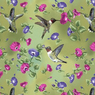 Kolibri und Blumen auf grün