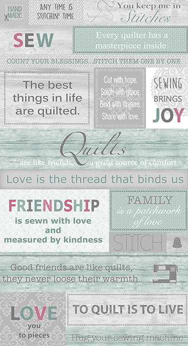 Words to Quilt By - Panel multi
