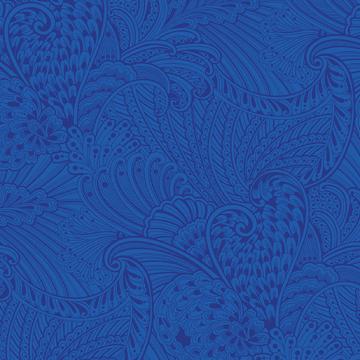 Peacock Flourish Opulence Tonal Dark Blue