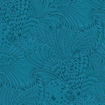 Peacock Flourish Opulence Tonal Dark Teal
