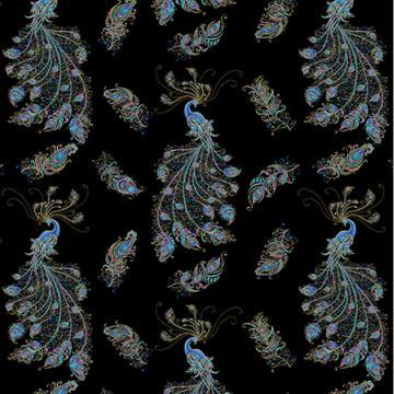 Peacock Flourish allover schwarz