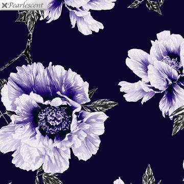Perlmutt lila Blumen auf Navy - Violet Twilight