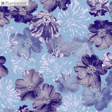 Perlmutt lila Blumen auf aqua - Violet Twilight