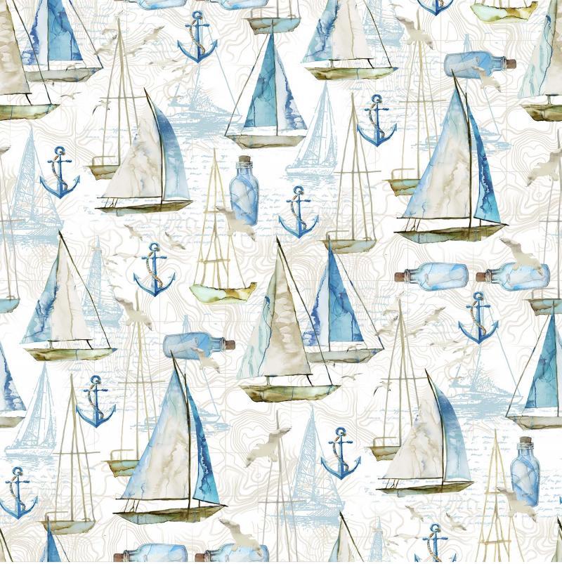Sail Away - Segelboote, Flaschenpost und Anker