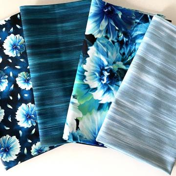 Stoffpaket (FQ) blaue Blumen
