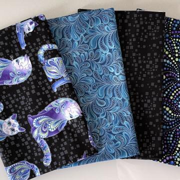 Stoffpaket Cat-i-tude blue dark