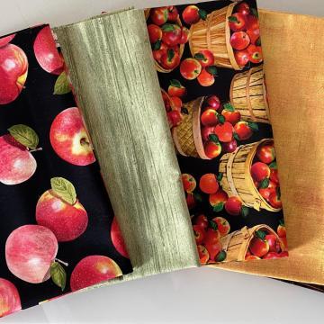 Stoffpaket Herbstäpfel auf schwarz