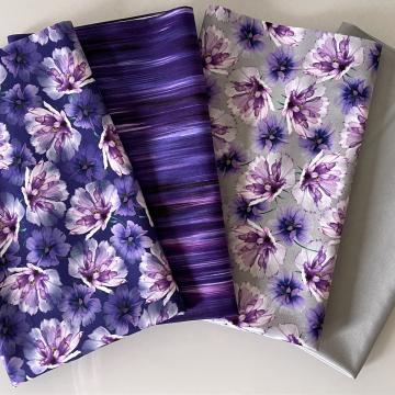 Stoffpaket Lila Blumen
