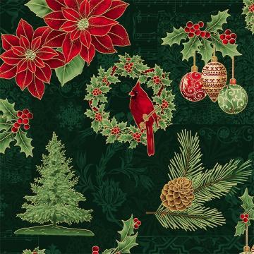 Weihnachtliche Motive rot und gold auf grün