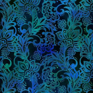 Tapestry Blumen auf blau allover