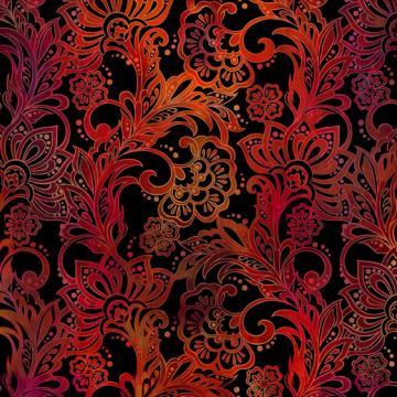 Tapestry Blumen auf rot allover