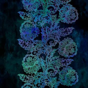 Tapestry Bordüre Blumen auf blau