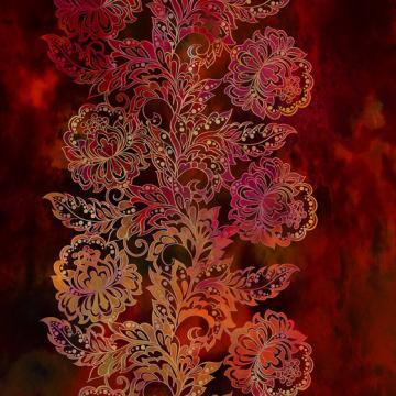 Tapestry Bordüre Blumen auf rot
