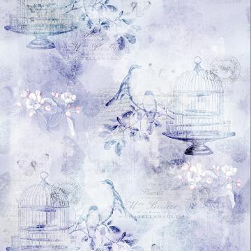Vintage Farmhouse - Vogelkäfig, Blumen und Schriften nostalgisch - lavender