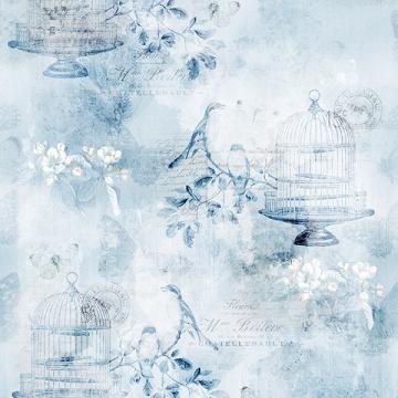 Vintage Farmhouse - Vogelkäfig, Blumen und Schriften nostalgisch -ice blue