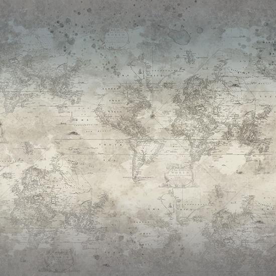 Vintage Farmhouse - nostalgische Weltkarte auf grau