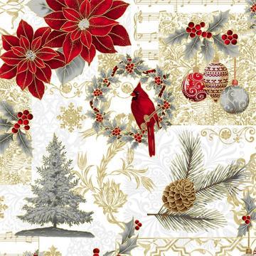 Weihnachtliche Motive rot, gold und silber auf weiß