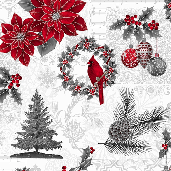 Weihnachtliche Motive rot und silber auf weiß