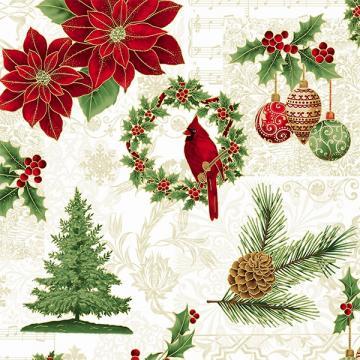 Weihnachtliche Motive rot, grün und gold auf natur
