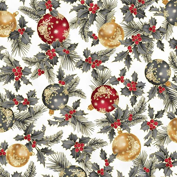 Weihnachtskugeln rot, gold und silber auf weiß