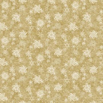 White Christmas - Schneekristalle gold u. silber auf goldfarbenen Grund