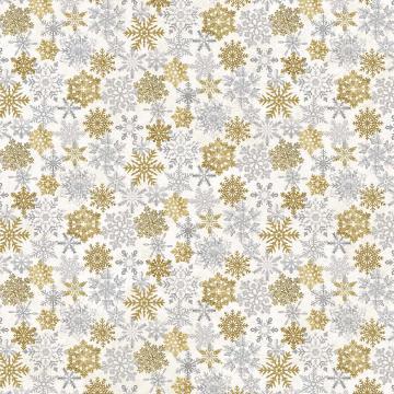 White Christmas - Schneekristalle gold u. silber auf weiß