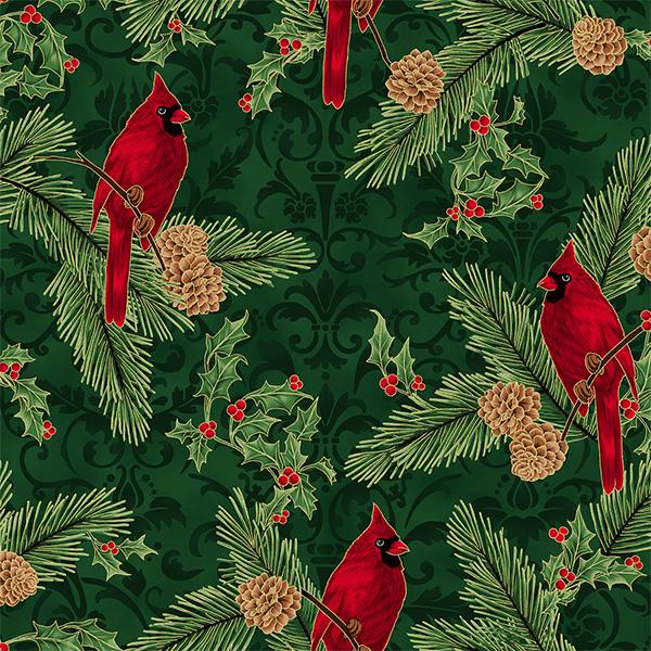 rote Kardinalvögel auf Tannenzweigen