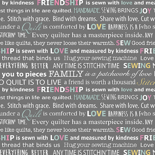 Words to Quilt By - Quilters Words Grey
