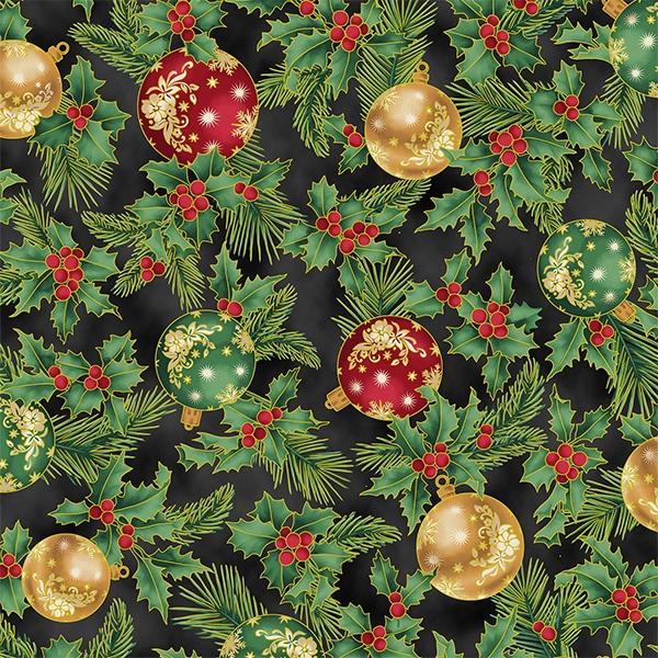 Weihnachtskugeln rot und gold auf schwarz
